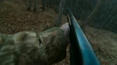 Male Hands With Shotgun In The Woods - stock footage