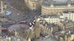 Aerial view of the famous Trafalgar Square in London - stock footage