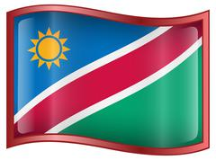 namibia flag icon. - stock illustration