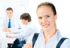 businessteam and a leader - stock photo
