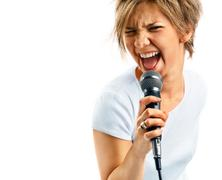 girl singing on white background - stock photo