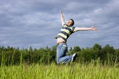 jumps on a grass - stock photo