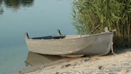 Empty boat at riverside zoom out Stock Footage