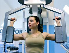 girl in fitness club - stock photo