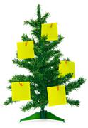 Christmas fur-tree with notes Stock Photos