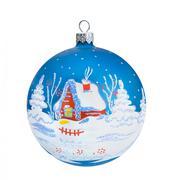 Christmas blue ball, isolated on white background Stock Photos
