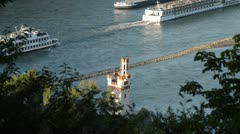 Ships on the Rhine at the Mouse Tower near Bingen, Upper Middle Rhine Valley, Stock Footage