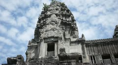 Angkor wat tower upper gallery blue sky khmer architecture tall Stock Footage