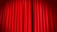 Opening and closing red curtain Stock Footage