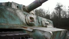 Close-up of a German tiger tank in Normandy France Stock Footage