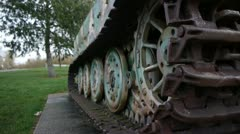 Close-up of a German tiger 1 tank in Normandy France Stock Footage