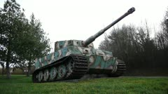 Long shot of a German tiger 1 tank in Normandy France Stock Footage