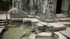 Ta prohm temple carvings carving sculpture khmer architecture cambodia Stock Footage
