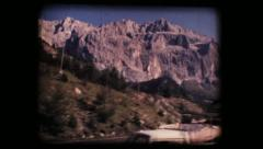 Vintage 8mm. Dolomite mountains and Gardena valley Stock Footage