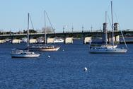 Sail boats in Saint Augustine Bay Stock Photos
