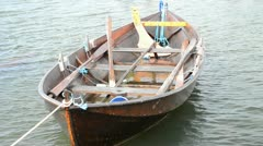 Wooden boat for fishing Stock Footage