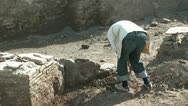 Archaeologist working  at excavation site in Bukhara Uzbekistan Stock Footage