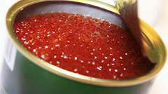 Tin Can with Red russian Caviar - stock footage