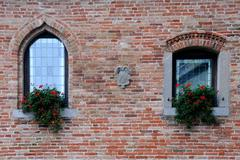 windows of medieval castle - stock photo