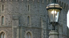 Gas Powered Street Light Outside of Windsor Castle. UK Stock Footage