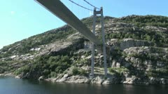 Norway Lysefjord moving under bridge s Stock Footage