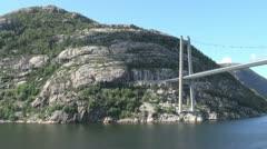 Norway Lysefjord bridge looms s Stock Footage