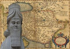 mythical man-beast of assyria, .. - stock photo