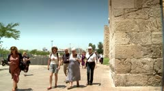Tourists next to the Wall of Old Jerusalem 3 Stock Footage