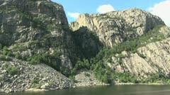 Norway Lysefjord rock slide s Stock Footage
