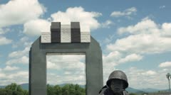 National D-Day Memorial Crane Down Overlord - stock footage