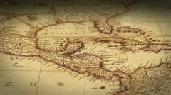 Pan across antique map with shallow depth of field (DoF) Stock Footage
