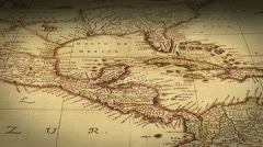 Pan across antique map Stock Footage