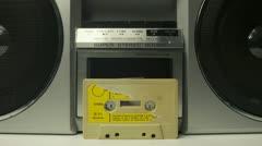 Cassette tape vintage tape recorder Stock Footage