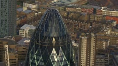 Stock Video Footage of Aerial view of the London skyline and the famous London skyscrapers