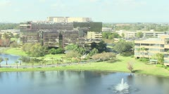 Office business park and waterfall Stock Footage
