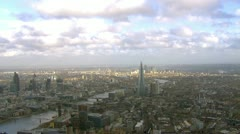 Panoramic aerial view and cloudscape over the city of London - stock footage