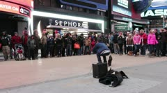 Times square street performer with crowd Stock Footage