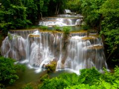 grand tropical waterfall - stock photo
