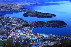 queenstown downtown at dusk - stock photo