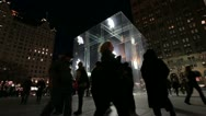 People at square of Apple store NYC Stock Footage