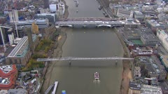 Aerial view of the Southwark Bridge and the Millennium bridge, London Stock Footage