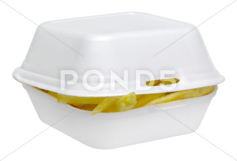 Stock photo of french fries in a white plastic box
