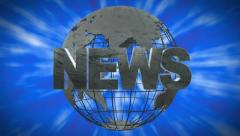 Stock Video Footage of Professional News Graphic With Wireframe Globe