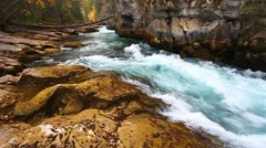 Cascades of Maligne Canyon Canada Stock Footage