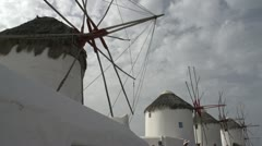 History & culture, The Mykonos windmills wide shot, low angle Stock Footage