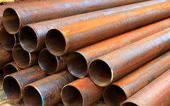 Steel pipes for mechanical engineering Stock Photos
