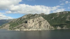 Norway Lysefjord view of cliffs and forests from a ship s5 Stock Footage