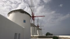 Mykonos windmills wide shot, angle Stock Footage