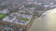 Aerial view of the Old Royal Naval College in Greenwich, London Stock Footage