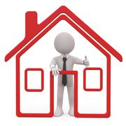 Stock Illustration of seller of houses with a schematic house